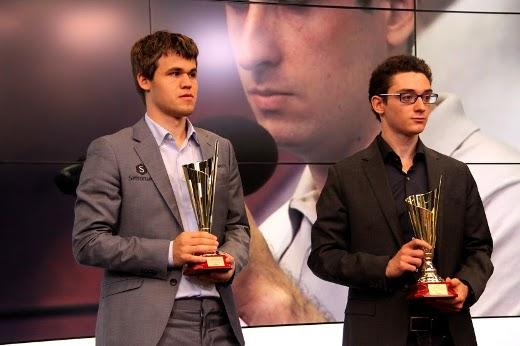 Magnus Carlsen and Fabiano Caruana