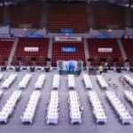 The impressive playing hall, usually the home of the professional basket-ball team of Nancy. 6000 spectators can enter!