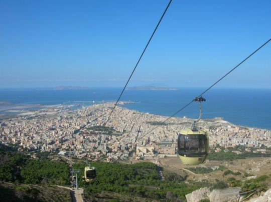 The Egadi islands and Trapani from Erice cableway
