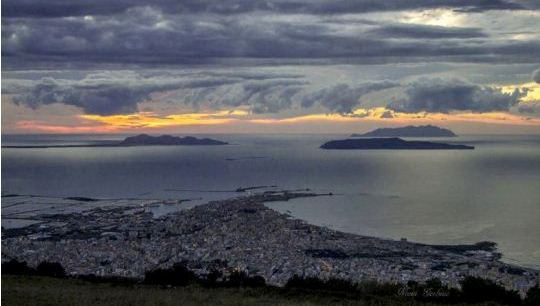 Trapani and Egadi island sunset