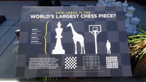 Placard for World's Tallest Chess Piece. 14 feet and 7 inches high, it is taller than a giraffe. If the piece had to be used on an actual board, the board would need to measure 72x72 feet, or roughly the size of two tennis courts! The board could serve as parking for 12 school buses.