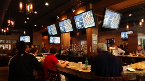 Lester's Sports Bar next door, which was fascinating seeing all 12 big screen TVs tuned to chess