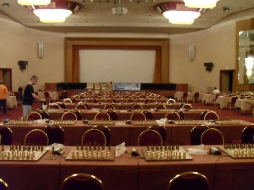 The playing hall is ready, the boards are setup to transmit ALL games of the Euro 2013