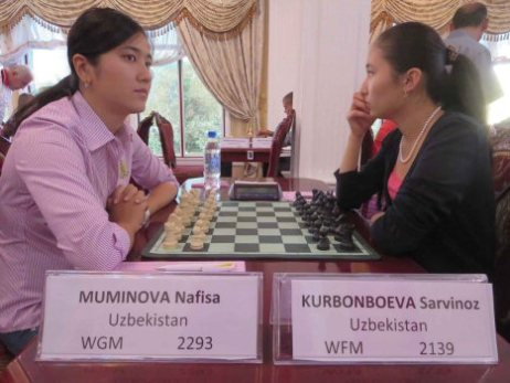 WGM Muminova Nafisa (UZB) and WFM Kurbonboeva Sarvinoz (UZB)
