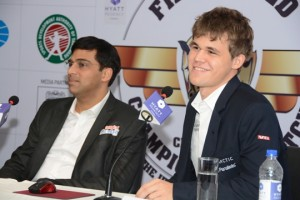 Anand and Carlsen at the press conference today