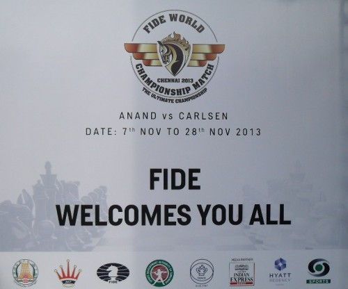 The banner at the hotel entry