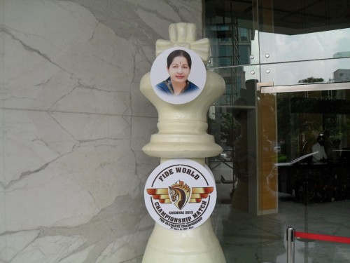 The large chess piece at the hotel entry