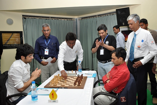 Crucial game between top two seeds Negi and Sasikiran inaugurated