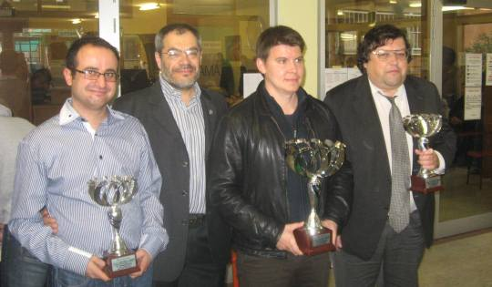 GM Arnaudov, Claudio Noè (president of Milano chess club), GM Rusev, GM Naumkin