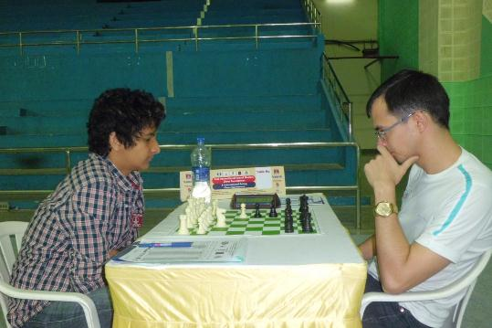 Vidit Santosh Gujrathi against top seed Russian Grandmaster Ivan Popov