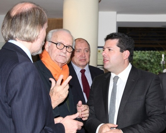 Chief Minister of Gibraltar Fabian Picardo was met by Brian Callaghan, Stuart Conquest and James Humphreys