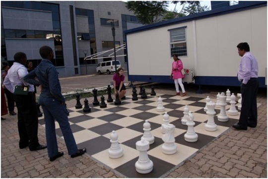 In 2009 former World Champion opened Botho chess square with huge chess board. Students of Botho University enjoy playing chess between the lessons every day.