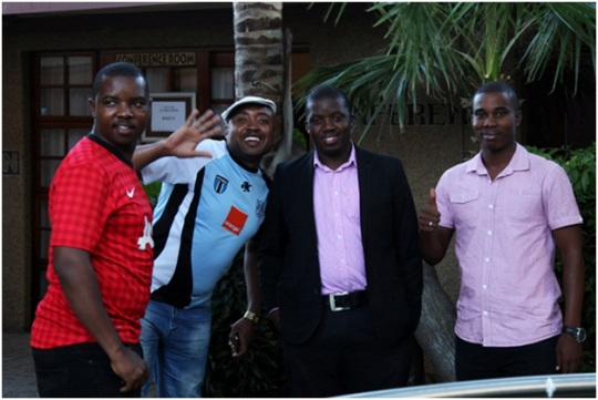 People, who do their best to develop chess in Botswana. From left to right: Mr. Motlhokomed Thabana (Botswana Chess federation development Director), Mr. Roger Tiroyamodimo (Botswana Chess Federation Vice President), the President of  BCF Tshenola Maruatona and Mr. Thuto Molebatsi (Sports Development Admin from Botswana National Sports Council responsible for Chess)
