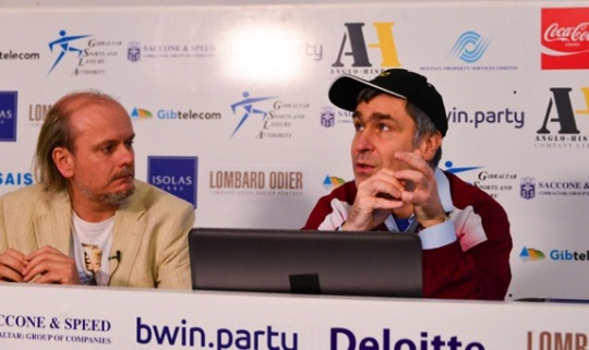 Tournament director Stuart Conquest introduces GM Vassily Ivanchuk in his Master Class. Pic by John Saunders
