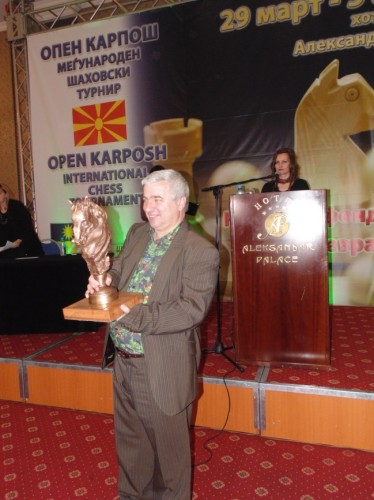 GM Kiril Georgiev grabbed the 16-kg bronze statue