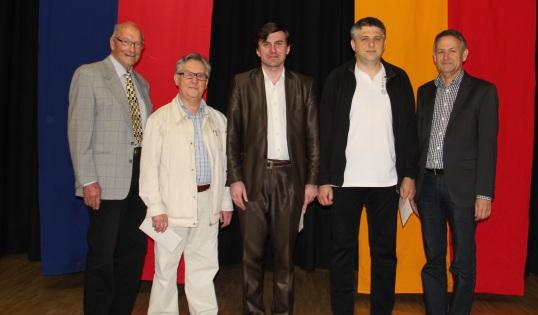 FL-Open 2013, from left: President Kurt Studer, GM Vladislav V. Vorotnikov (2.), Winner GM Malakhatko, IM Gyula Izsak (3.), Arbiter Gerhard Fröwis