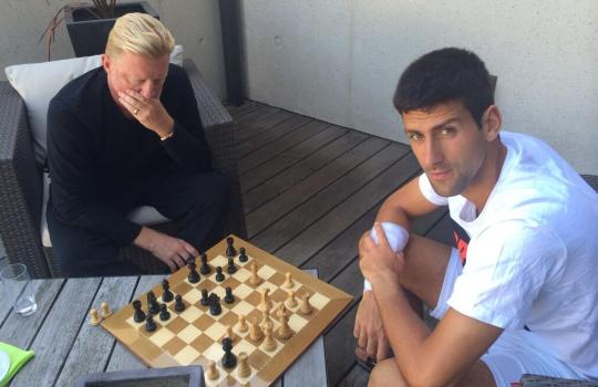 Novak Djokovic plays chess with Boris Becker