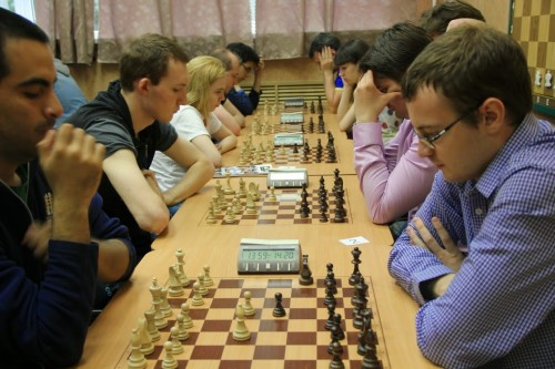 Chess960 tournament is in progress Table1:  4th place GM Manuel Leon Hoyos (MEX) vs 3rd place IM Ivan Rozum (RUS, Vologda). Table 2: 1st place IM Mikhail Demidov (RUS, Moscow) vs GM Pavel Ponkratov (RUS, Ekaterinburg)