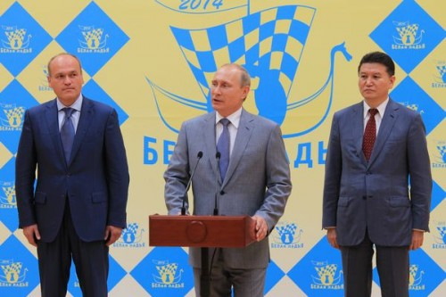 "Filatov, Putin and Ilyumzhinov open the traditional tournament ""White Rook"" (photo: Vladimir Barsky)"