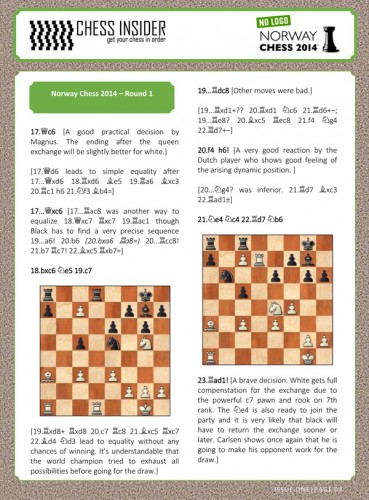 Sample page of Chess Insider Norway 2014