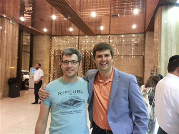 GM Peter Swidler (right), shortly after landing at Ben Gurion Airport with Philip Zisman - Chairman of Iroshhmt Chess Club