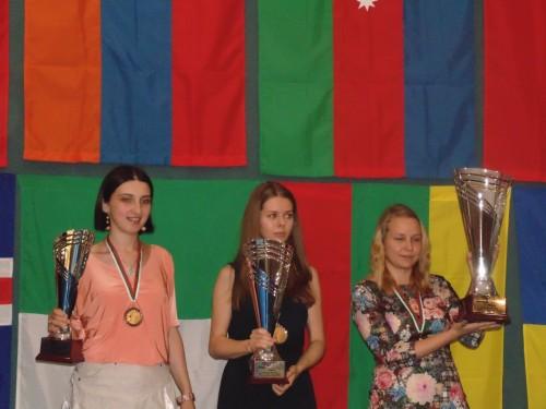 IM Salome Melia (3rd), GM Tatiana Kosintseva (2nd), GM Valentina Gunina (champion)
