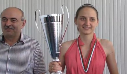 WGM Adriana Nikolova with the tournament organizer Plamen Stefanov