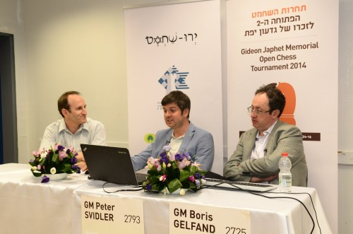 Co-organizer Gilad Japhet interviews Svidler and Gelfand after the first day
