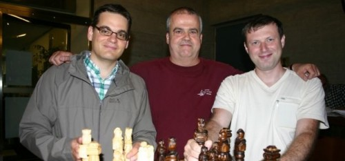 the best local player Frank Salzgeber, Committee President of Martigny Open 2014 Pierre Perruchoud and GM Sergey Ovsejevitsch (from left to right)