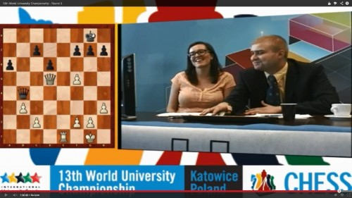 WIM Hanna Leks and GM Marcin Tazbir commenting on the World University Chess Championship!