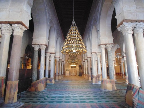 Interior view of the prayer hall in the Mosque of Uqba
