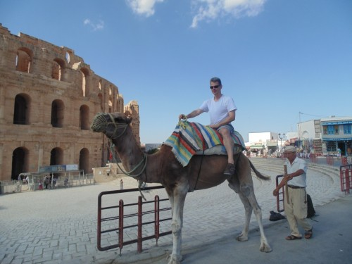 IM Bernd Kohlweyer is trying camel riding