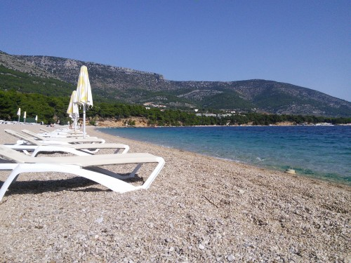 """View of he famous beach """"Zlatni Rat"""" situated near the playing hall"""