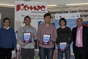 Vladimir Bykov (Executive Director of Saint Petersburg Chess Federation), GM Ivan Ivanisevic (winner), GM Ivan Bukavshin (second placed), GM Maxim Rodshtein (third place) and IM Alexander Sotsky (Tournament Director)