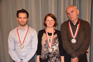The Master of Bern (from left): GM Yannick Pelletier, WIM Gundula Heinatz, FM Vjekoslav Vulević (photo credit: Swiss Chess Federation)