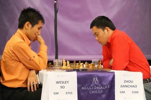 Wesley So vs. Zhou Jianchao (photo credit: Susan Polgar)