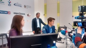 Relieved Carlsen at the press conference