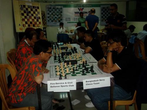 In 1st Round Fire-Service Civil Defense Vs. Bangladesh Navy Chess Team