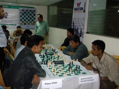 In 1st Round Titas Club Chess Team Vs. Sultana Kamal Smirity Pathagar