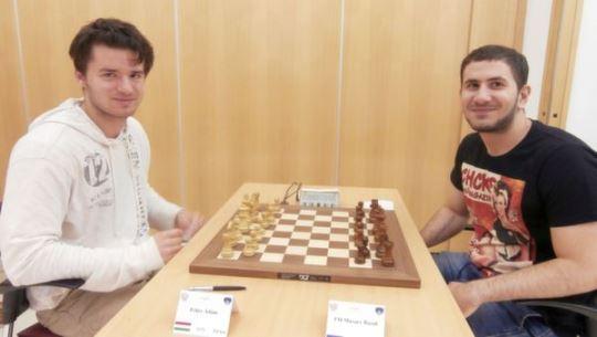 FM Razul Musaev (RUS) v Adam Feher (HUN) in the round 8 of the IM tournament (½ - ½)
