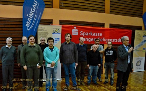 GM Rausis, GM Smittdiel, GM Sumets, GM Inkiov, GM Li, GM Borovikov, FM Zuyev, IM Solonar, FM Cordes, GM Danin and Dr. Benninger (from left to right)