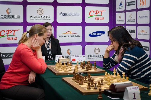 An important win for Zhao Xue over Valentina Gunina (1.5-0.5)