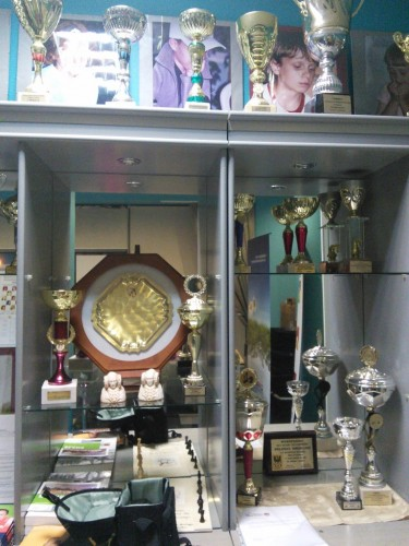 The chess club Polonia Wroclaw has plenty of trophies, medals and photo memories