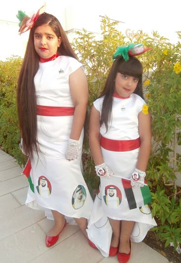 Dresses and accessories in the Emirati national colours