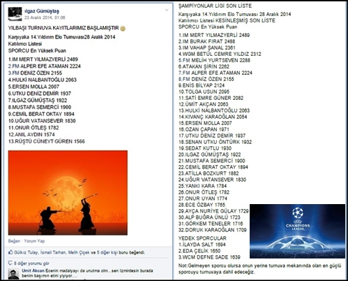 On the left is the inial list, and the final list (with reserves!) is on the right. As the last tournament was perhaps the strongest one, it was presented with a Champions League ® picture!