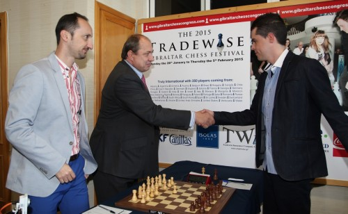 Tradewise Chairman James Humphreys makes the first move for World No. 4, Veselin Topalov, and the top seeded player at the 13th edition of the Tradewise Chess Festival (courtesy of Sophie Triay)