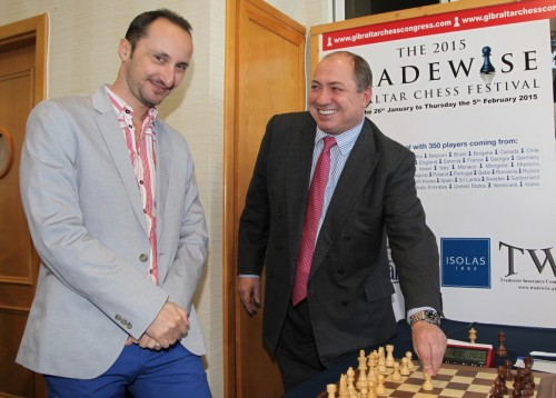 Tradewise Chairman James Humphreys makes the first move for World No. 4, Veselin Topalov, and the top seeded player at the 13th edition of the Tradewise Chess Festival.  Pic: Sophie Triay.