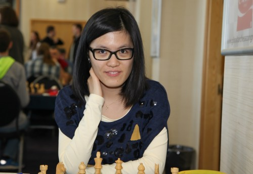Women's World Chess Champion Hou Yifan at the start of play today (courtesy of Sophie Triay)