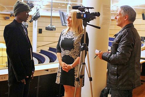 Gillian Bwalya being interviewed by GM Susan Polgar
