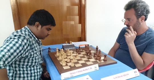 Mehar Chinna Reddy (India) playing GM Alberto David (Italy)